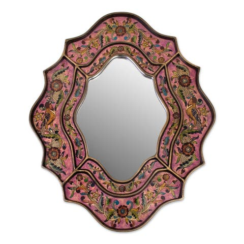 Handmade Romance Flowers and Birds Accent Mirror (Peru) - Pink