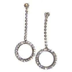 Detti Originals Silvertone Brass Crystal Circle Drop Earrings