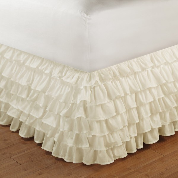 Greenland Home Fashions Ivory Queen-size Multi-ruffle 15-inch Drop Bedskirt