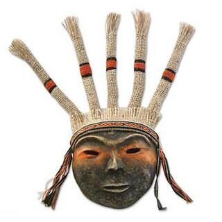 Set of 2 Handmade Papier Mache 'Inca Offering' Masks (Peru)