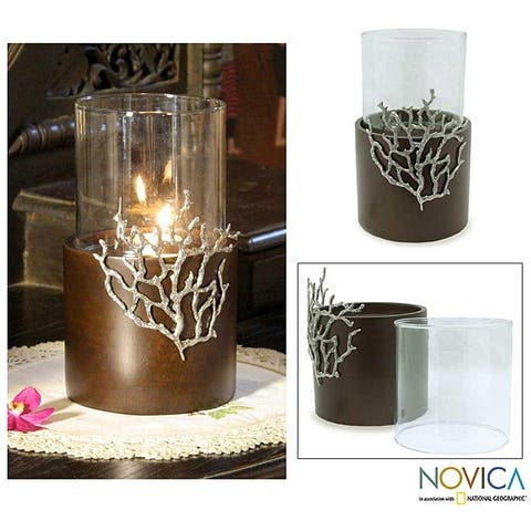 Mango Wood and Pewter 'Coral Light Glow' Candleholder , Handmade in Thailand