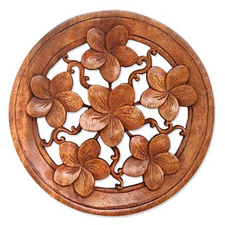 Suar Wood 'Frangipani' Wall Panel, Handmade in Indonesia