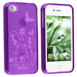 INSTEN Purple/ Flower Butterfly TPU Rubber Phone Case Cover for Apple iPhone 4 - Thumbnail 1