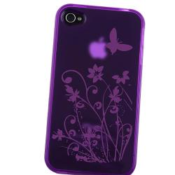 INSTEN Purple/ Flower Butterfly TPU Rubber Phone Case Cover for Apple iPhone 4 - Thumbnail 2