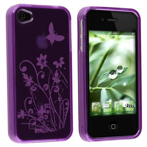 INSTEN Purple/ Flower Butterfly TPU Rubber Phone Case Cover for Apple iPhone 4