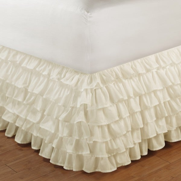 Greenland Home Fashions Ivory King-size Multi-ruffle 15-inch Drop Bedskirt