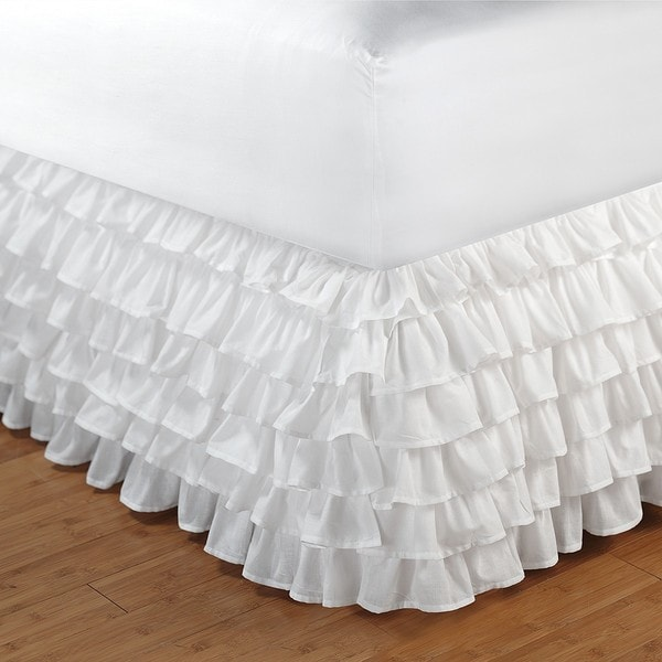 Greenland Home Fashions White Queen-size Multi-ruffle 15-inch Drop Bedskirt