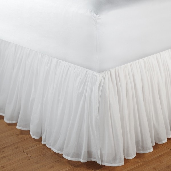 Greenland Home Fashions White King-size Voile 15-inch Drop Bedskirt