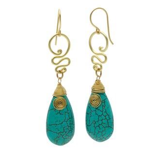Brass Turquoise Teardrop Bohemian Spirit Swirl Earrings (Thailand)