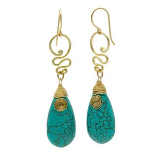 Handmade Brass Turquoise Teardrop Bohemian Spirit Swirl Earrings (Thailand)