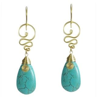 Handmade Brass Turquoise Spirit Swirl Earrings (Thailand)