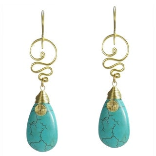 Handmade Brass Turquoise Teardrop Bohemian Spirit Swirl Earrings (Thailand)