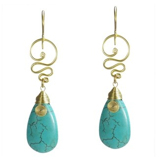 Handmade Brass Turquoise Spirit Swirl Earrings (Thailand)