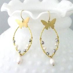Brass Butterfly Pearl and Crystal Drop Earrings (4-9 mm) (Thailand)