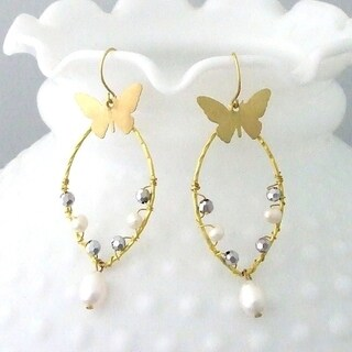 Handmade Brass Pearl and Crystal Drop Earrings (Thailand)