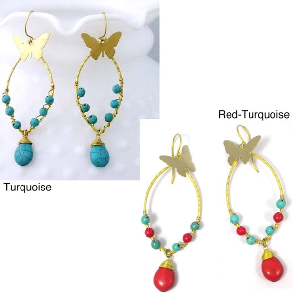 Handmade Brass Charming Butterfly Turquoise Drop Earrings (Thailand)