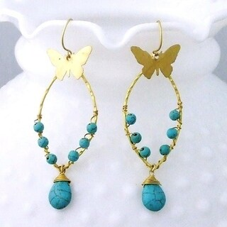 Handmade Brass Butterfly Turquoise Drop Earrings (Thailand)