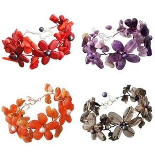 Gemstone and Pearl Flower Garland Bracelet (5-6 mm) (Thailand)