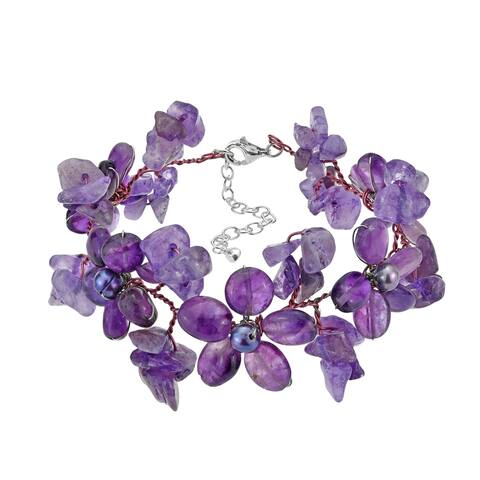Handmade Purple Amethyst and Pearl Daisy Garland Floral Bracelet (Thailand)