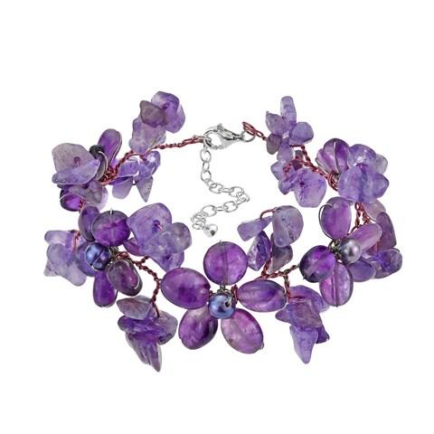 Handmade Gemstone and Pearl Flower Garland Bracelet (5-6 mm) (Thailand)