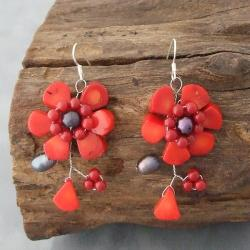 Sterling Silver Red Coral and Pearl Flower Earrings (6-8 mm) (Thailand)