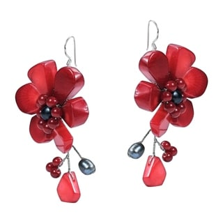 Synthetic Coral Pearl Flower .925 Silver Earrings (Thailand)