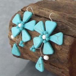 Handmade Sterling Silver Turquoise and Pearl Flower Earrings (5-6 mm) (Thailand) - Thumbnail 1