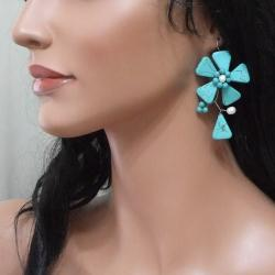 Handmade Sterling Silver Turquoise and Pearl Flower Earrings (5-6 mm) (Thailand) - Thumbnail 2