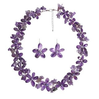 Handmade Purple Amethyst and FW Pearl Flower Jewelry Set (3-10 mm) (Thailand)