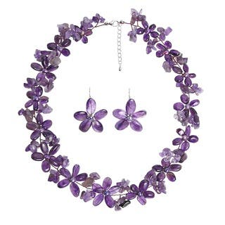 Handmade Purple Amethyst and FW Pearl Flower Jewelry Set (3-10 mm) (Thailand)|https://ak1.ostkcdn.com/images/products/6128218/P13791956.jpg?impolicy=medium