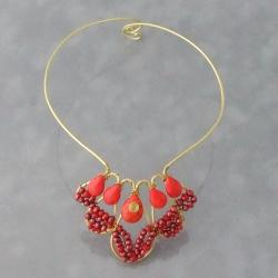 Brass Red Delight Coral and Pearl Choker Necklace (3-5 mm) (Thailand)