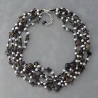 Handmade Grey Pearl, Onyx and Quartz Multi-strand Necklace (4-7 mm) (Thailand)