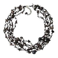 Handmade Grey Pearl, Onyx and Quartz Multi-strand Necklace (Thailand)