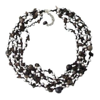Handmade Grey Pearl, Onyx and Quartz Multi-strand Necklace (Thailand)