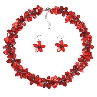 Red Coral and Black Pearl Flower Jewelry Set (3-10 mm) (Thailand)