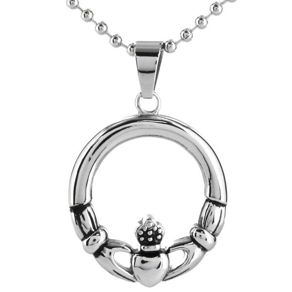 ELYA Women's Celtic-inspired Stainless Steel Claddagh Circle Necklace