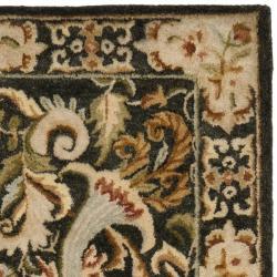 Safavieh Handmade Floral Bells Charcoal Grey Hand-spun Wool Rug (2'3 x 8') - Thumbnail 1