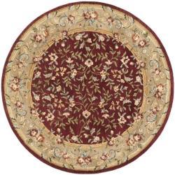 Safavieh Handmade Gardens Red/ Dark Beige Hand-spun Wool Rug (6' Round)