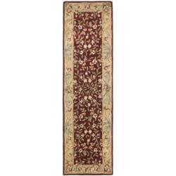 Safavieh Handmade Gardens Red/ Dark Beige Hand-spun Wool Rug (2'3 x 10')