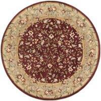 Safavieh Handmade Gardens Red/ Dark Beige Hand-spun Wool Rug - 8' x 8' Round