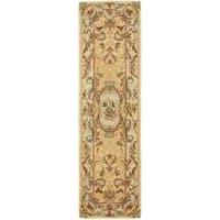 """Safavieh Handmade Light Gold/ Beige Hand-spun Wool Rug - 2'3"""" x 12'"""