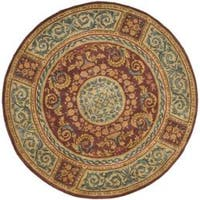Safavieh Handmade Aubusson Bonnelles Red/ Beige Wool Rug - 6' x 6' Round