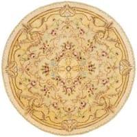 Safavieh Handmade Aubusson Creteil Beige/ Light Gold Wool Rug (6' Round)