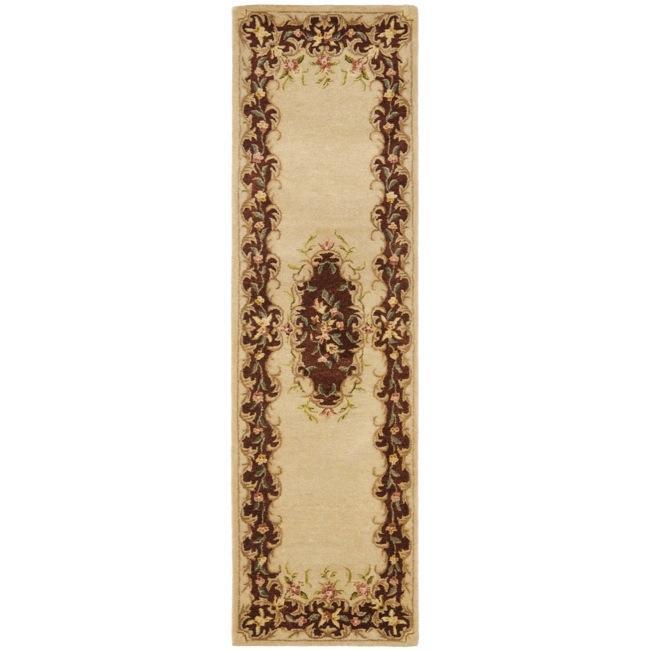 "Safavieh Handmade French Bouquet Ivory/ Rust Hand-spun Wool Rug - 2'3"" x 8'"