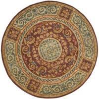 Safavieh Handmade Aubusson Bonnelles Red/ Beige Wool Rug - 8' x 8' Round
