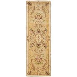 Safavieh Handmade Aubusson Creteil Beige/ Light Gold Wool Rug (2'6 x 8')