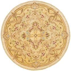 Safavieh Handmade Aubusson Creteil Beige/ Light Gold Wool Rug (4' x 4' Round)