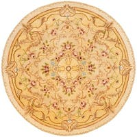 Safavieh Handmade Aubusson Creteil Beige/ Light Gold Wool Rug - 4' x 4' Round