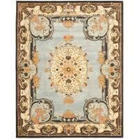 Safavieh Handmade Bliss Light Blue/ Ivory Hand-spun Wool Rug - 5' x 8'