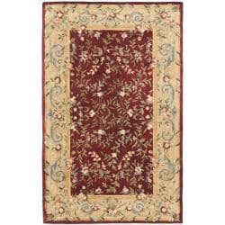 Safavieh Handmade Gardens Red/ Dark Beige Hand-spun Wool Rug - 5' x 8' - Thumbnail 0